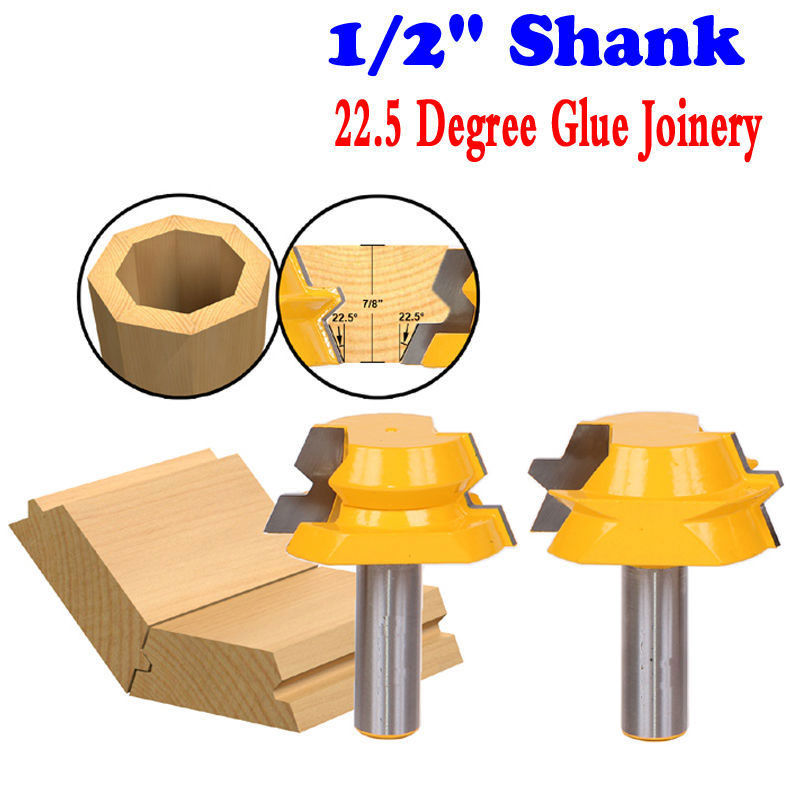 цена на 2pc Lock Miter Router 22.5 Degree Glue Joinery Router Bit Set - 1/2 Shank Woodworking cutter Tenon Cutter for Woodworking Tool