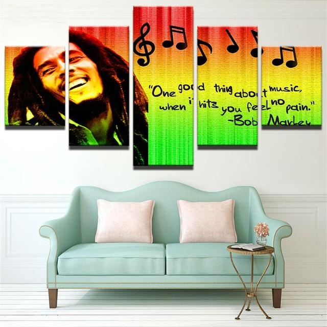 5 Panel HD Printed Framed Music Singer Bob Marley Wall Canvas Art ...