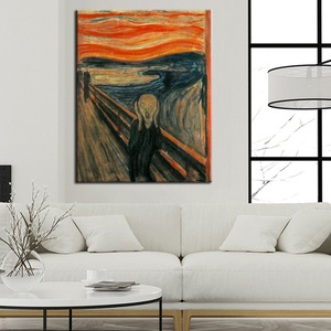 Edvard Munch Scream Abstract Oil Painting on Canvas Print Poster Wall Art Picture for Living Room Home Cuadros Decor Gift(China)