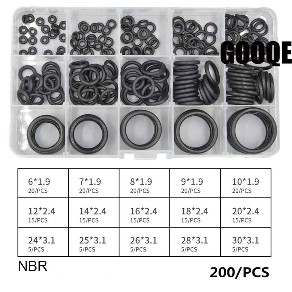 200pcs Black NBR O Ring Seal Kit 15 Different Sizes Rubber O-ring Sealing Gasket Assortment Set with Plastic Case 300pcs red silicon o ring seal kit 15 different sizes o ring gasket set vmq o ring assortment set with plastic case