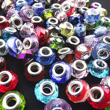 10PCS/Lot Mixed Color DIY Handmade Jewelry Silver Plated Crystal Glass Beads Glaze fit for Pandora Bracelet and Necklace