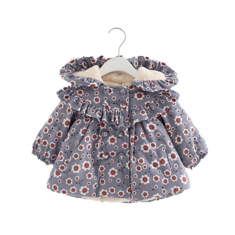 Girls Coat Winter Newborn Children Plus Velvet Cotton Smile Print Jacket Hooded