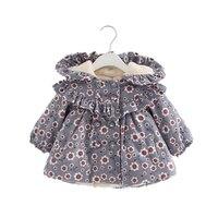 Girls Coat Winter Newborn Children Plus Velvet Cotton Smile Print Jacket Hooded Infant Clothing Baby Outwear 0 2Y
