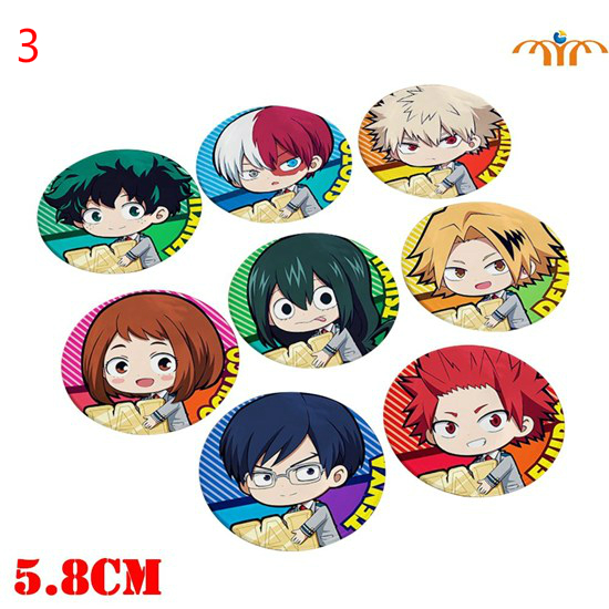 Giancomics 5.8cm Hot Anime My Hero Academia Pins Set Plastic Badges Brooch Chest Button Cosplay Costume Collection Otaku Gift