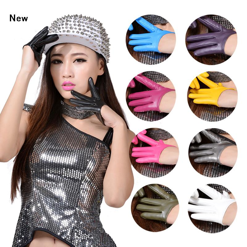 Half Palm Gloves dance show leather gloves Fashion Half Finger PU Leather Gloves Ladys Fingerless