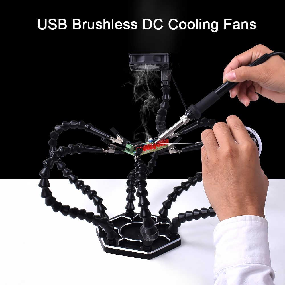 NEWACALOX сторонняя пайка PCB держатель инструмент помощь руки рукоделие хобби сварочная станция USB DC Охлаждающие вентиляторы 6 шт. гибкие ручки