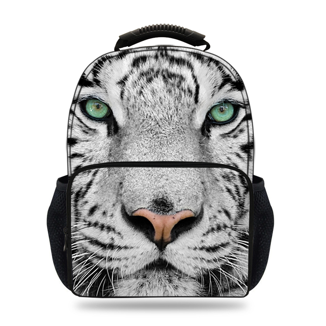 15inch Primary School Bag 3D White Tiger Backpack Kids Boys Animal Bags  Children Mochilas Escolares Teenagers