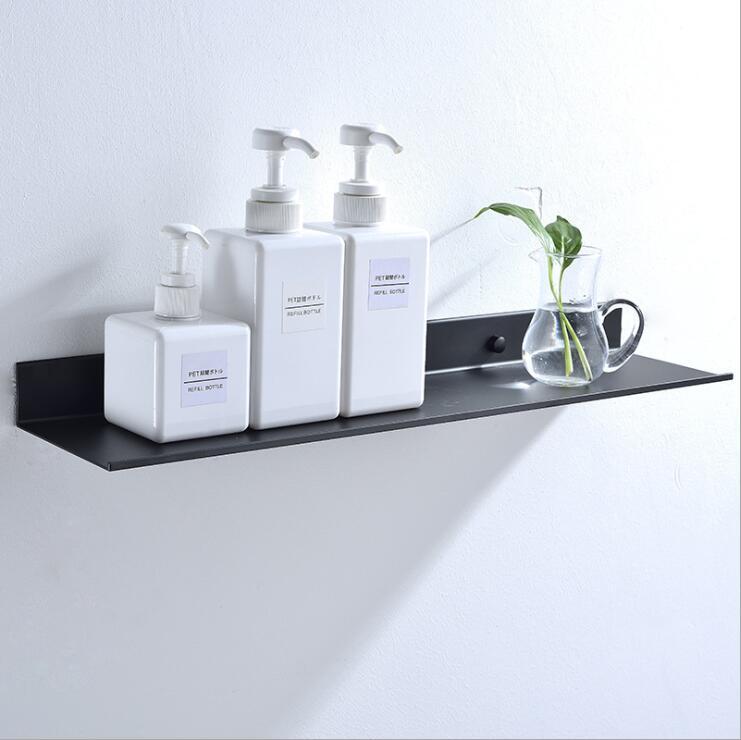 Aluminio espacio negro estantes baño cocina estante de la pared ducha baño estante de almacenamiento accesorios 30-60 cm longitud
