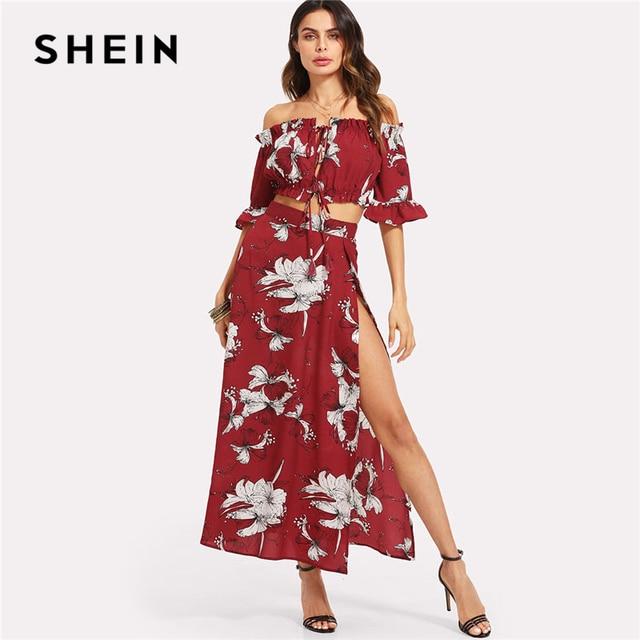 d58da3f74d8 SHEIN Burgundy Crop Bardot Top And High Slit Skirt Set Women Ruffle Off The  Shoulder Flare Sleeve Drawstring Boho 2 Piece Sets