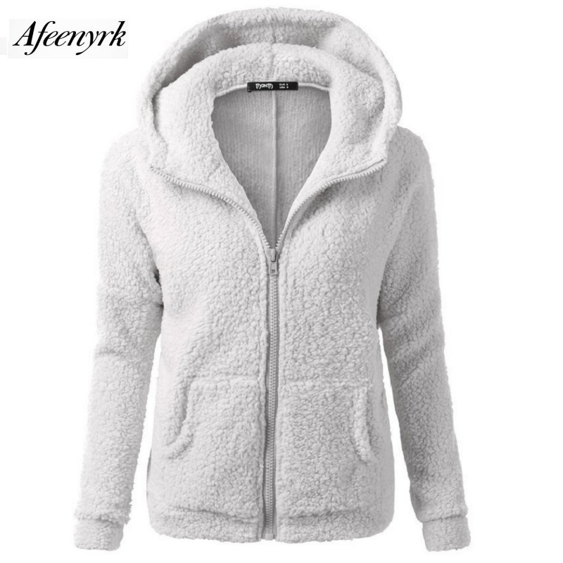 AFEENYRK Vintersöt mode Hooded Jacket Damtröjor 2017 nya plysch med huva dragkedja Hoodies kvinnor sweatshirt Fleece jacka