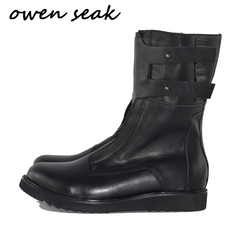 Owen Seak erkek ayakkabısı Diz Yüksek Çizmeler Inek Deri Lüks Eğitmenler Kış Boots Casual Flats Ayakkabı Siyah Büyük Sneakers'da  Grup 1