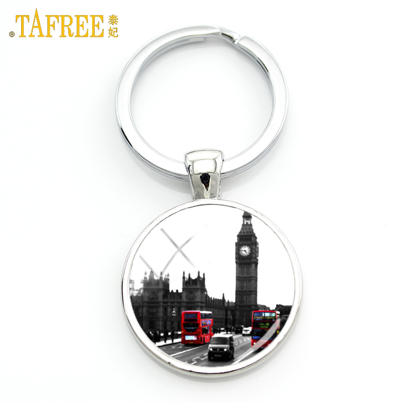 TAFREE novelty old London montage red double decker bus keychain peace and love men women car key chain ring holder jewelry H188