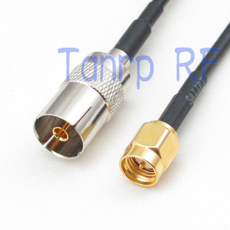 6in TV female jack to SMA male plug RF connector adapter 15CM Pigtail coaxial jumper RG174 extension cord cable 5 x rf antenna fm tv coaxial cable tv pal female to female adapter connector