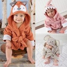 Детский банный халат с капюшоном, очень мягкий халат с милыми животными для детей от 0 до 18 месяцев, пижама, пижама для новорожденных, одежда для маленьких девочек