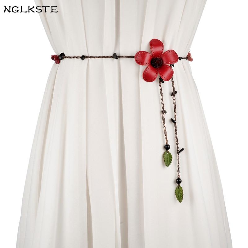 חגורות של נשים בציר חבל שעוות פרחים דקורטיבי עלים קשר שמלת חגורת אבנט גב 'ביגוד צר של גברת באיכות גבוהה חגורת