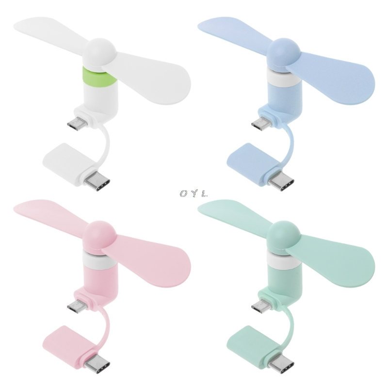 Portable Fan 2in1 Type C Micro USB Mini Fan Cooler For Samsung Xiaomi Huawei HTC Cell Phone And All Smart Phone