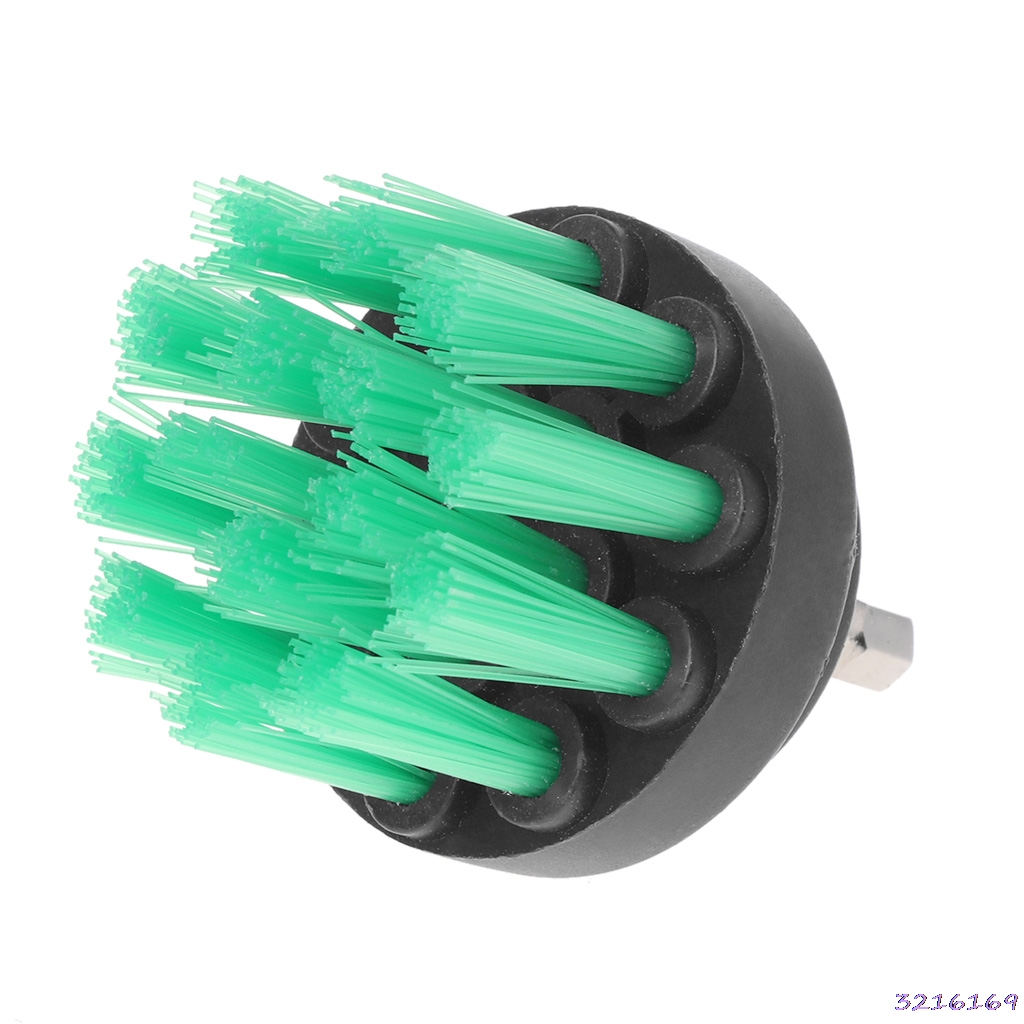 2 Drill Green color Cleaning Brush Heavy Duty With Stiff Bristles For Carpet Car Mats New -38#