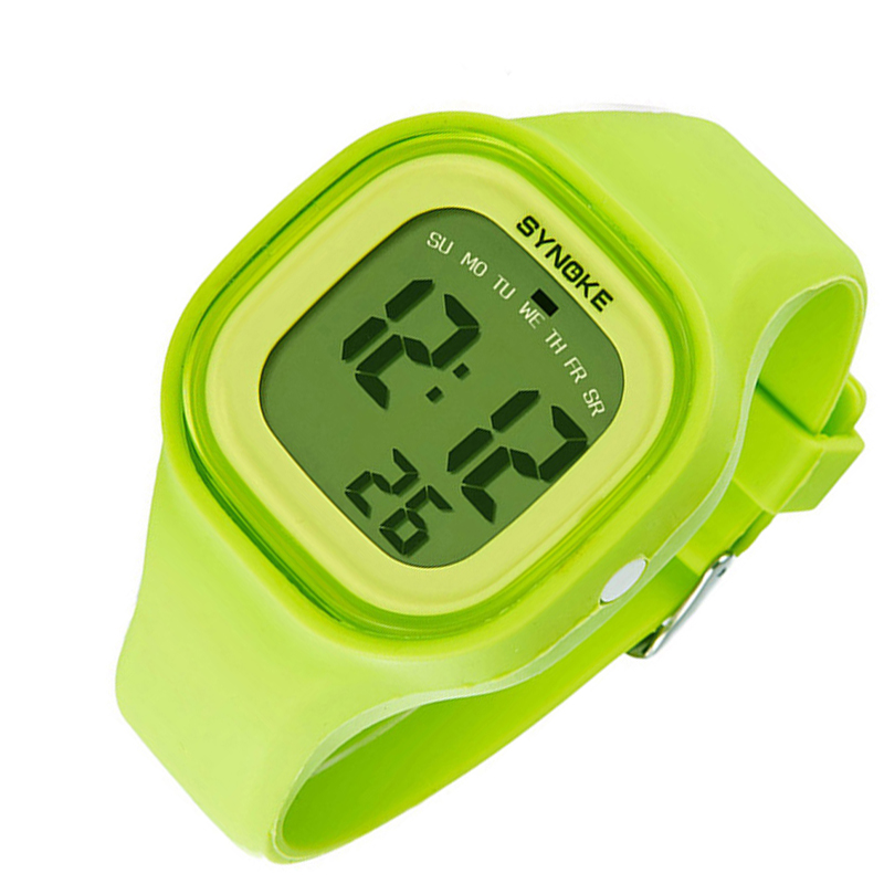 women digital Silicone sport wristwatch Fashion ladies Square waterproof led Watch top quality girl stopwatch clock