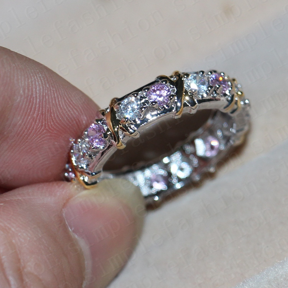 Victoria Wieck Eternity Ring Pink Sapphire Simulated Diamond 10kt Yellow  White Gold Filled Women Engagement Wedding