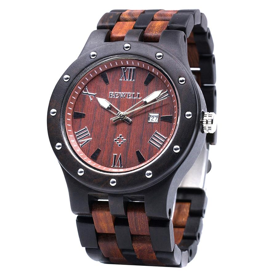 BEWELL dernière montre en bois naturel visage rond bracelet en bois japon mouvement montre à Quartz avec calendrier hommes montres dans la boîte-cadeau 109A