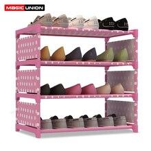 Magic Union moderne antipoussière étagère à chaussures en fer forgé multicouche assemblage étagère à chaussures rangement armoire à chaussures Simple étagère à chaussures