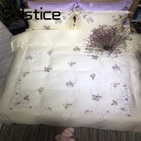 Solstice Home 2018 Fashion Trend Embroidery Purple Little Floral Flowers Technics Bedlinens Duvet Cover Sheet Pillow Cases