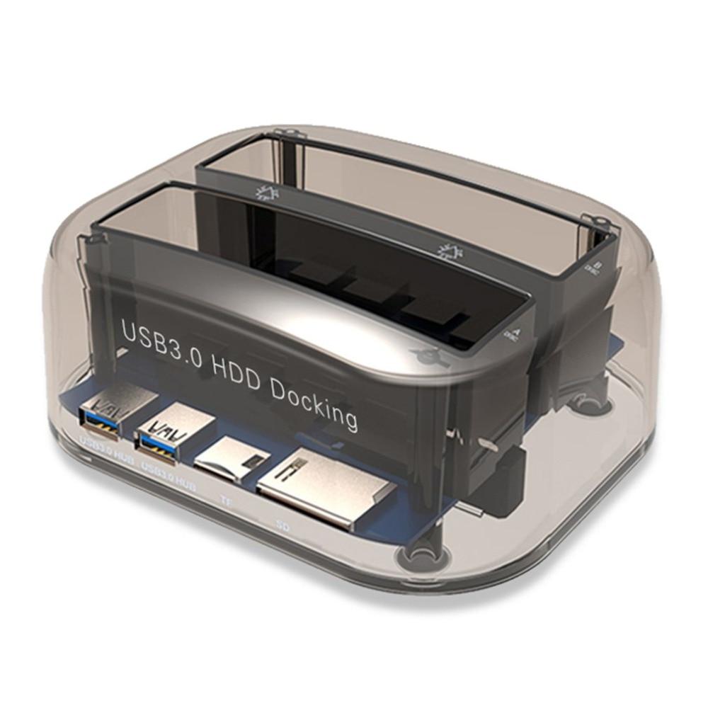 USB 3.0 to SATA Dual Bay External Hard Drive Docking Station for 2.5/3.5 Inch HDD SSD Hard Drive Duplicator Plug & Play acasis ba 12us 3 5 inch sata usb3 0 dual hard drive hdd docking station hard disk offline cloning duplicator box 10072tw