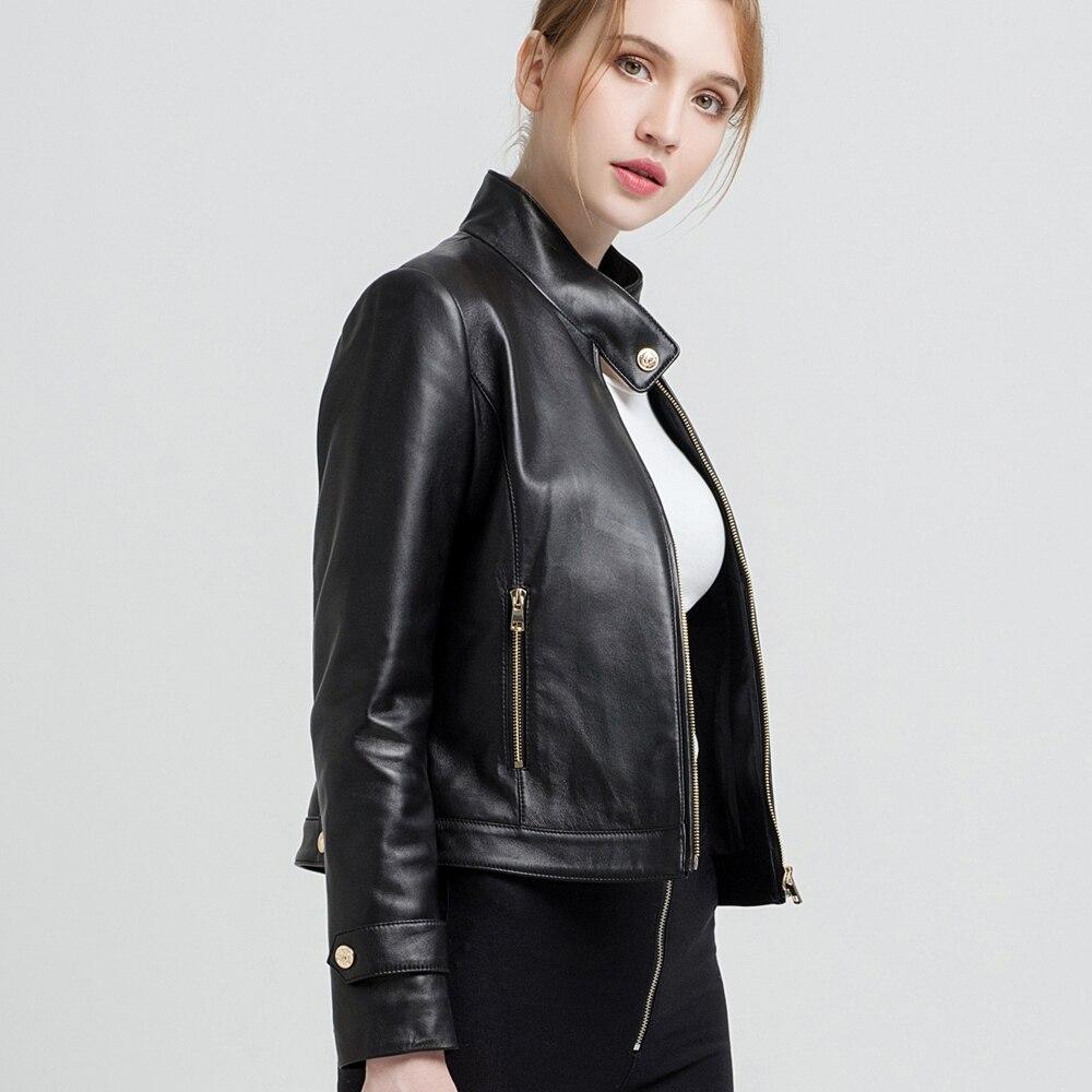 Classique Peau Pour Gours Vestes Veste 68025 Style Dames Cuir Court Punk Manteaux Moto Véritable En Black Femmes De Noir Mode Mouton xqSqrp7IwT