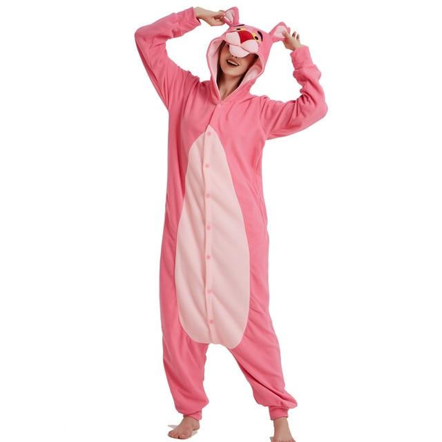 1a1059b5d Hot Pink Panther Onesie Pajamas Polar Fleece Adult Kigurumi For ...