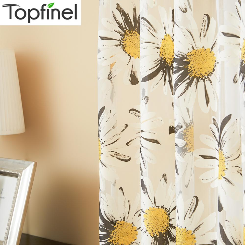 Top Finel New Yellow Floral Print Tulle Curtains For Window Elegant Yarn Curtains For Living Room Bedroom Kitchen Curtain Drapes