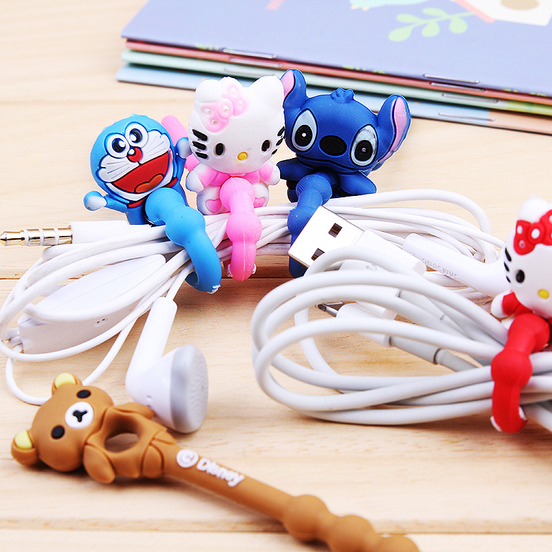 New Arrival 200pcs/lot Lovely Cartoon Cable Winder Headphone Earphone Cable Wire Organizer Cord Holder Power cord retention