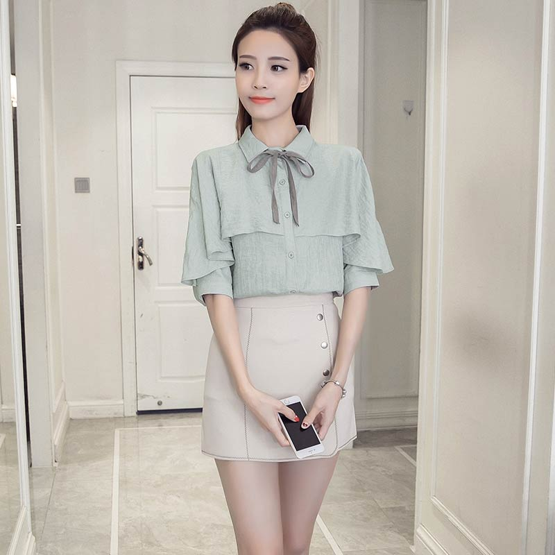 2017 New Summer Women Shirts Bow Ruffles Loose Half Sleeve Han Fan Ribbon Blouse Shirt White Green 1533