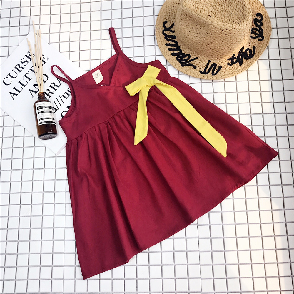 Summer 2019 Girls Princess Dress Sexy V neck Bow Mini Dresses Baby Kids Strap Beach Dress Solid Red Fashion Vestidos Robe 2 6Y in Dresses from Mother Kids