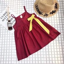 Summer 2019 Girls Princess Dress Sexy V-neck Bow Mini Dresses Baby Kids Strap Beach Solid Red Fashion Vestidos Robe 2-6Y