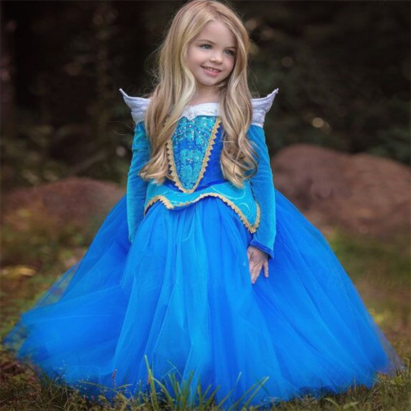Noble Sleeping Beauty Girl Dress Anna Elsa Cosplay Costume for Party Festival Girls Princess Aurora Dresses Kids Clothes 2017 elsa dress sparkling snow queen elsa princess girl party tutu dress cosplay anna elsa costume flower baby girls birthday dresses