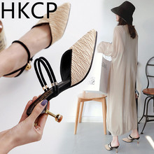 HKCP 2019 leopard-print pointy toe baotou new womens shoes half a drag two wear sandals with kitten heels thin slippers C004