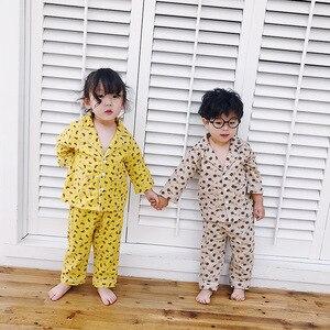 Image 2 - Autumn Winter boys girls fashion cartoon Pajama Sets pure cotton long sleeve shirt +pants 2pcs suits kids children clothes sets