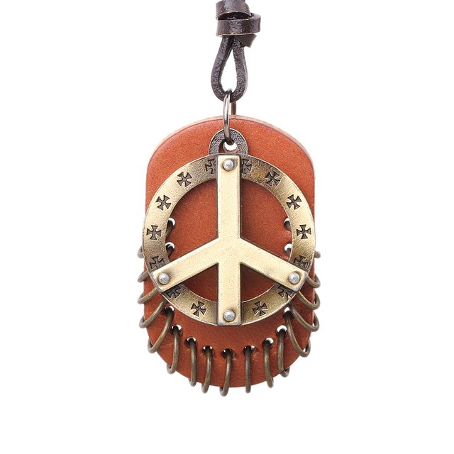 2017 new fashion vintage world peace symbol genuine leather necklace 2017 new fashion vintage world peace symbol genuine leather necklace mencheap pendant necklaces aloadofball Image collections