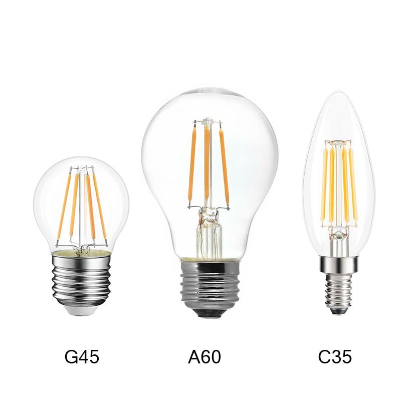 220V E14 LED Candle Bulb E14 C35 Filament Light E27 LED Lamp 230V 240V A60 C35 G45 220V COB LED Filament Light Decoration Lamp