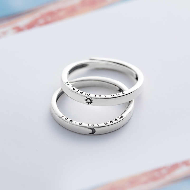 New Arrivals Real Silver Simple Korean Rings For Women 100% 925 Sterling Silver Sun Moom Love Elegant Jewelry Ring