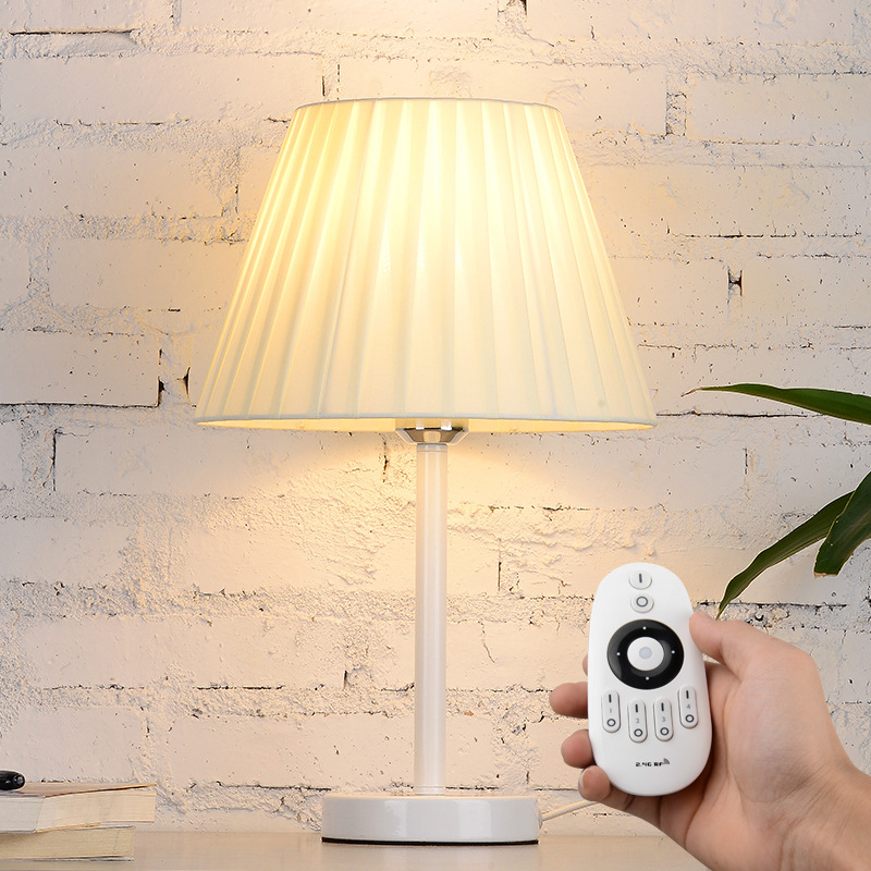Tuda 28x44cm Free Shipping Creative Remote Control Dimming Table Lamp Folding Cloth Lampshade Table Lamp For Living Room E27 Fragrant Flavor In