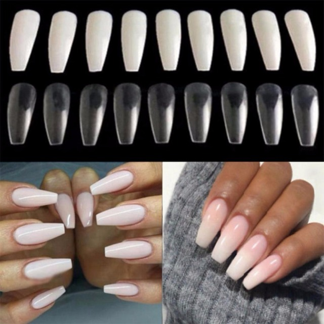 100pcs Ballerina Nail Tips Full Coffin Shape French Fake Professional Art Tip Square Style