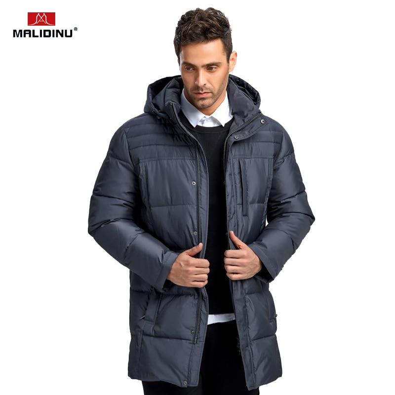 MALIDINU 2019 Fashion Men Down Jacket 70% Duck Down Winter Thick Long Down Coat Brand European Size Down Coat -30C Free Shipping