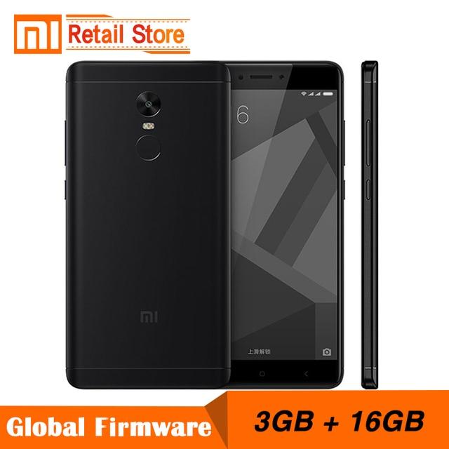 """Оригинальный Xiaomi Redmi Note 4x3 ГБ 16 ГБ мобильный телефон 4 x Snapdragon 625 восьмиядерный смартфон 13.0MP 5.5 """"отпечатков пальцев ID 4 г LTE"""