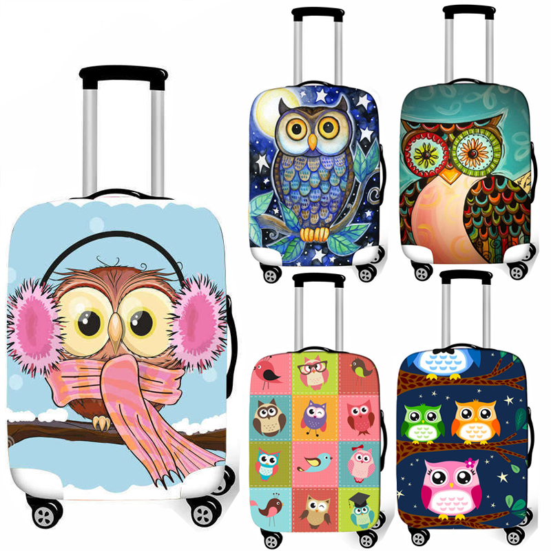 Cute Owl Elastic Luggage Protective Cover Travel Accessories Anti-dust Luggage Cover Waterproof Trolley Case Suitcase Covers