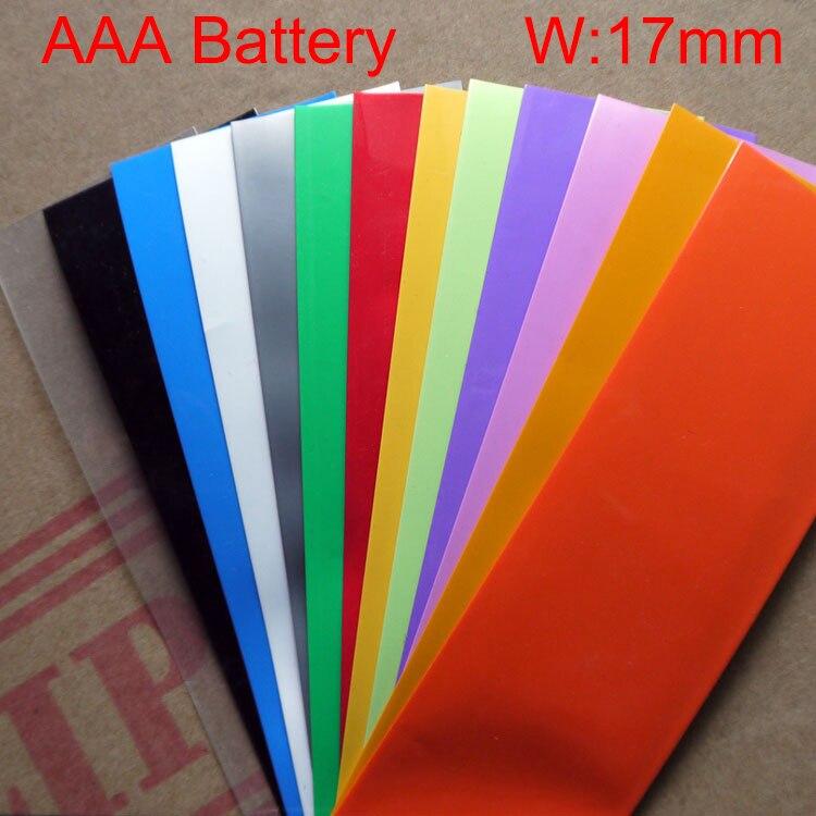 10M White Black Yellow Green Blue 17mm Width 11mm Dia AAA Battery Insulation Waterproof PVC Heat Shrinkable Tubing Shrink Tube