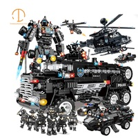 Legoed Police 981 1492pcs Plane Truck Motor Boat Model kit Building blocks Compatible with legoed swat City Army Children Toys