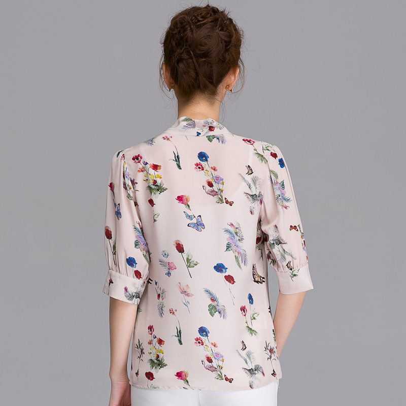 e499bddfc MIVI Summer Women Real Silkworm Silk Shirts Half Sleeve Floral Printed  Vintage Blouse Bowknot Elegant Ladies Office Tops-in Blouses & Shirts from  Women's ...