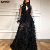 New Evening Dresses Keyhole Design Sexy Party Dress Robe De Soiree Dress Elegant Illusion Long Sleeves Prom Dresses
