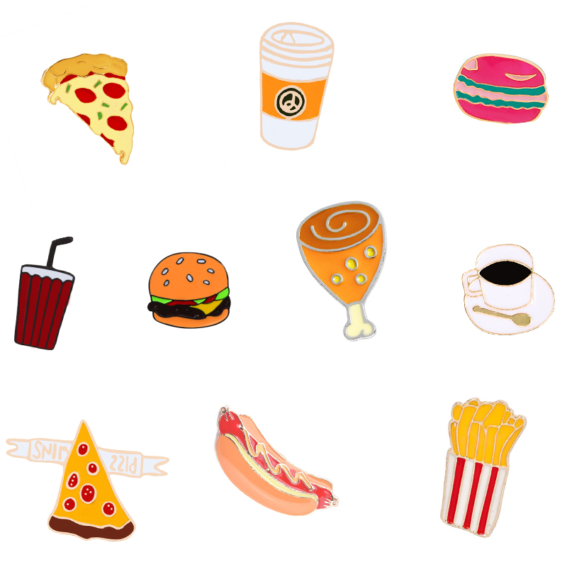 10 Style Snack Brooch Pizza Pin Chicken Coffee Badges Hat Backpack Fries Hot Dog Cola Accessories Lovers Jewelry Gift For Lover
